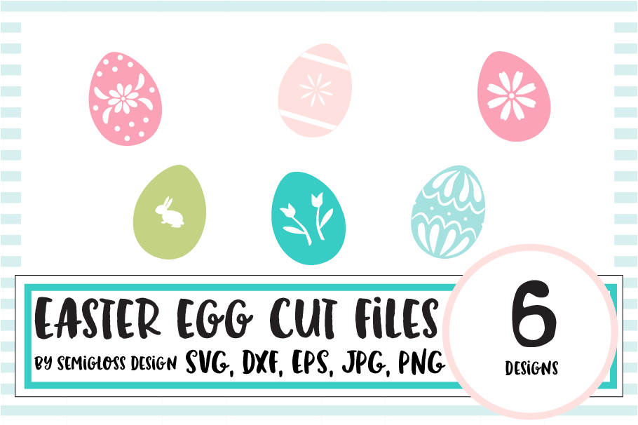 Decorated Easter Egg SVG and Cut File Set example image 1