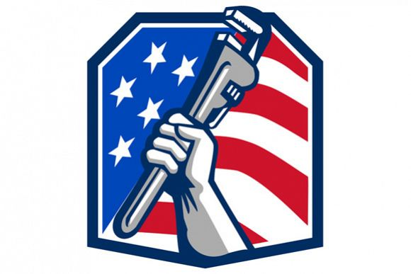 Plumber Hand Pipe Wrench USA Flag Retro example image 1