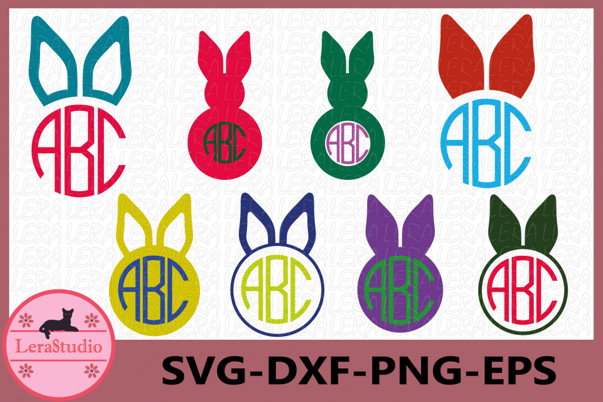Easter Bunny Ears SVG, Bunny Ears Svg Monogram Frames example image 1