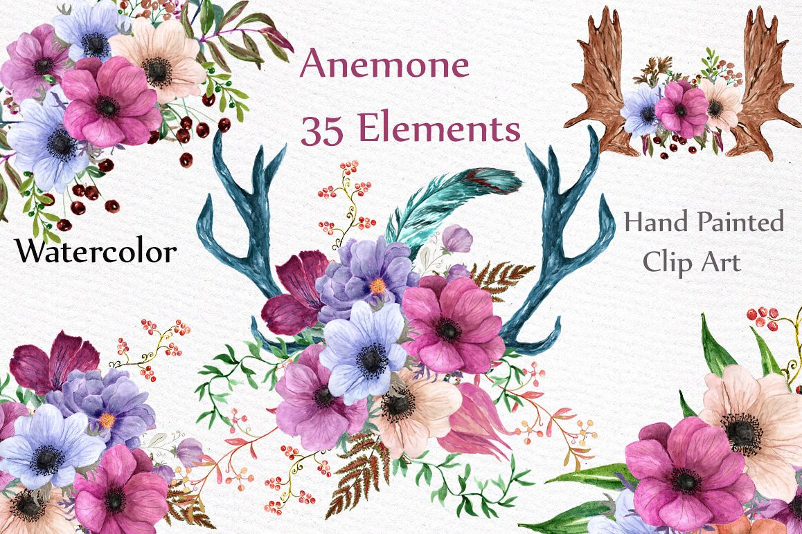 Watercolor floral elements example image 1