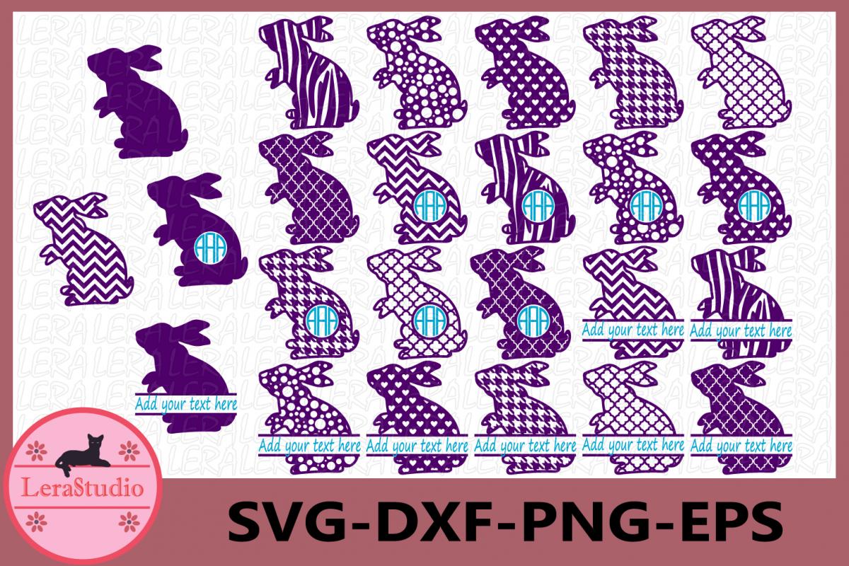 Rabbits Svg, Easter Bunny Monogram Frames, Rabbits example image 1