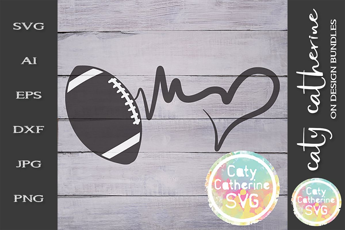 Heartbeat Love Heart American Football SVG Cut File example image 1