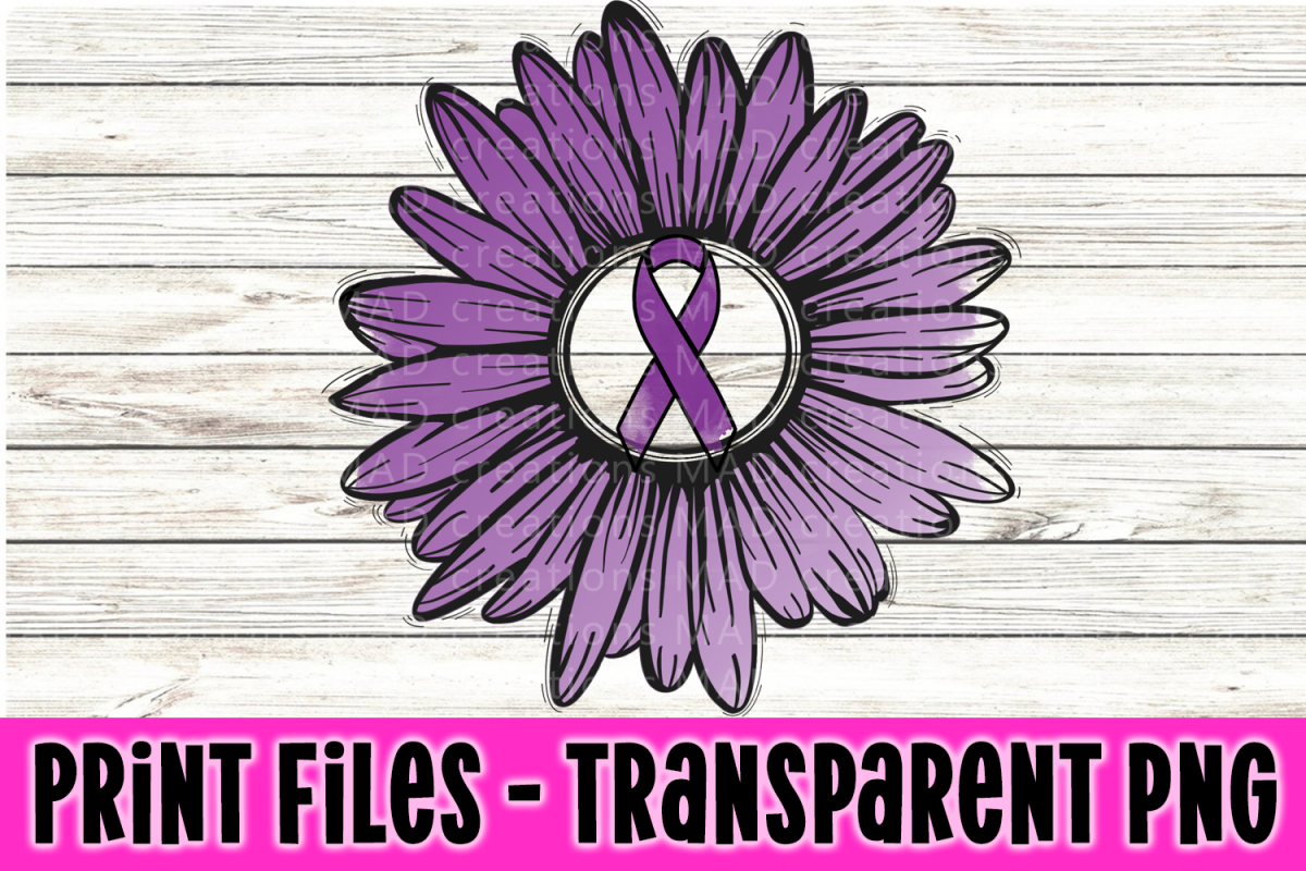 Purple - Rustic Sunflower with Awareness Ribbon example image 1