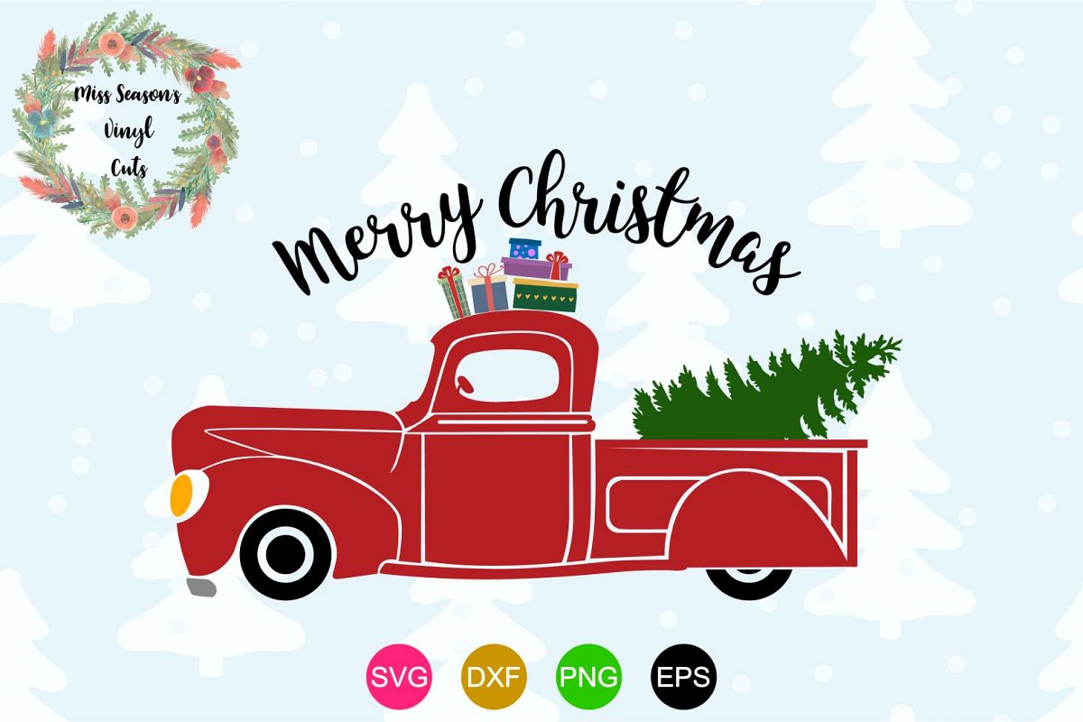 Christmas Red Truck.Merry Christmas Red Truck Christmas Svg