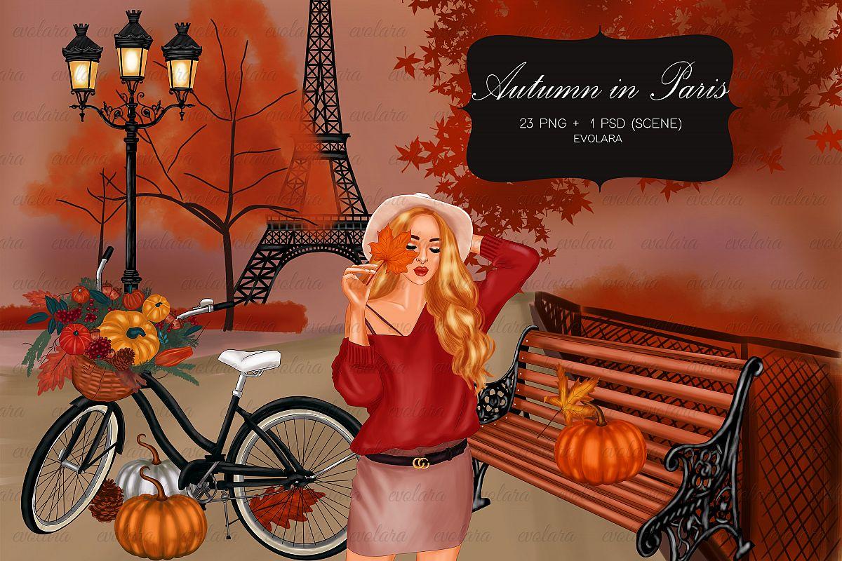 Paris Themed Clipart Fall Autumn Clipart Pumpkin Clipart example image 1