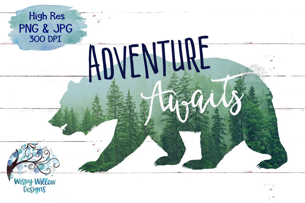 Adventure Awaits | Forest Bear PNG | Sublimation | Clipart example image 1