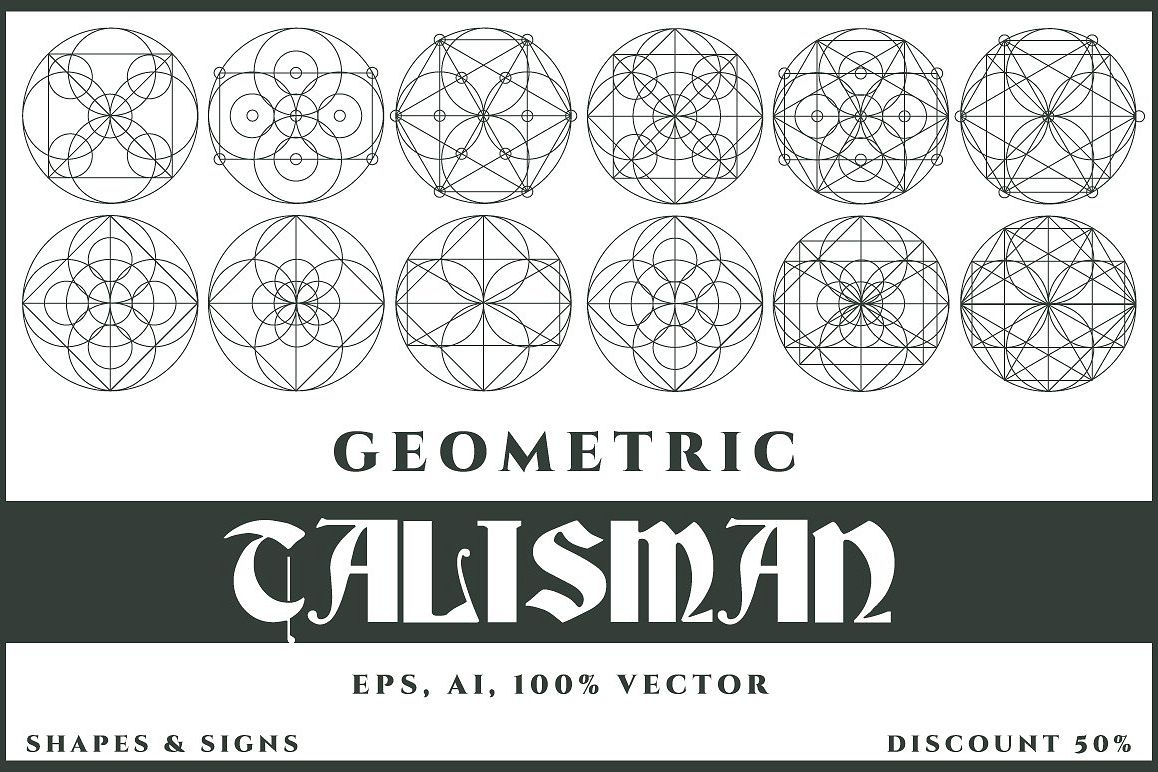12 Talisman Geometric Vector Shapes example image 1