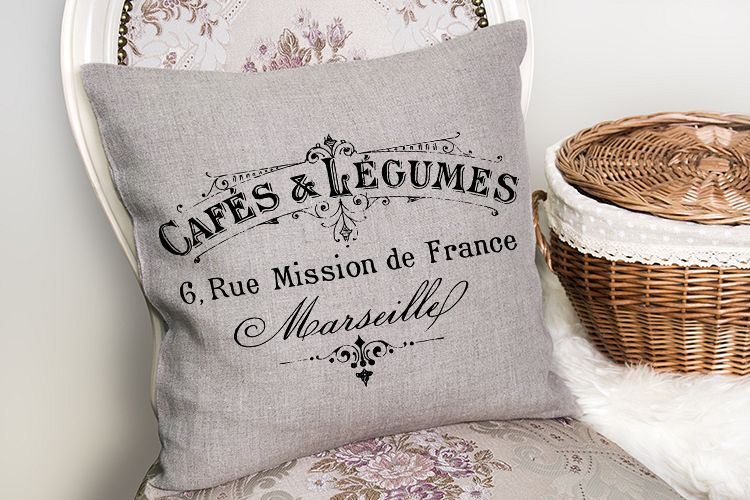 Antique French Cafe Label printable furniture pillow art example image 1