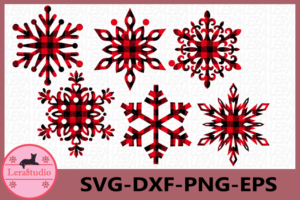 Snowflake Svg, Buffalo Plaid Svg, Snowflake Vinyl Decal example image 1