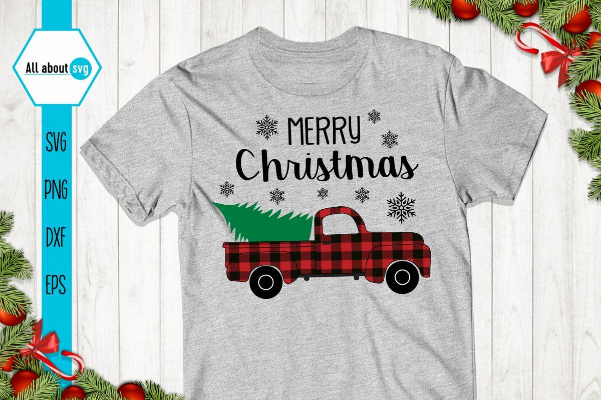 Merry Christmas Truck Svg, Buffalo Plaid Christmas Truck example image 1