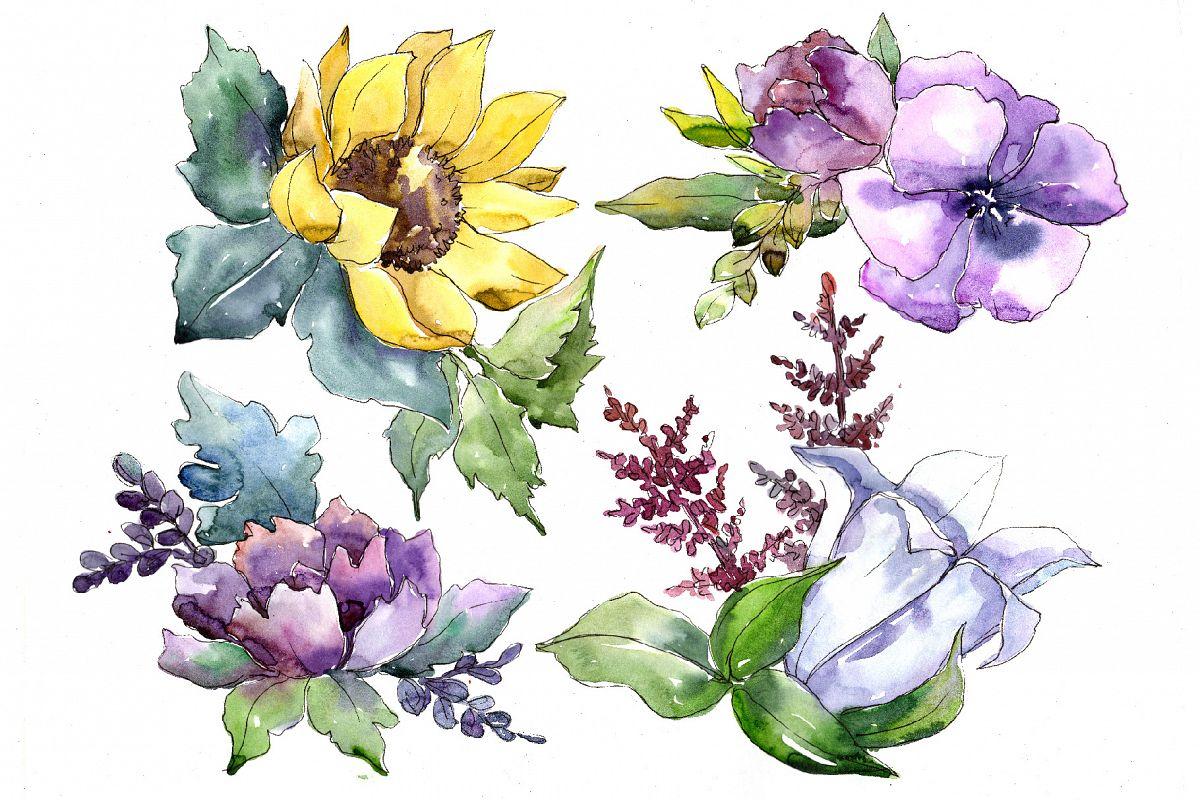 Wildflower bouquets png watercolor set design bundles wildflower bouquets png watercolor set example image 1 izmirmasajfo