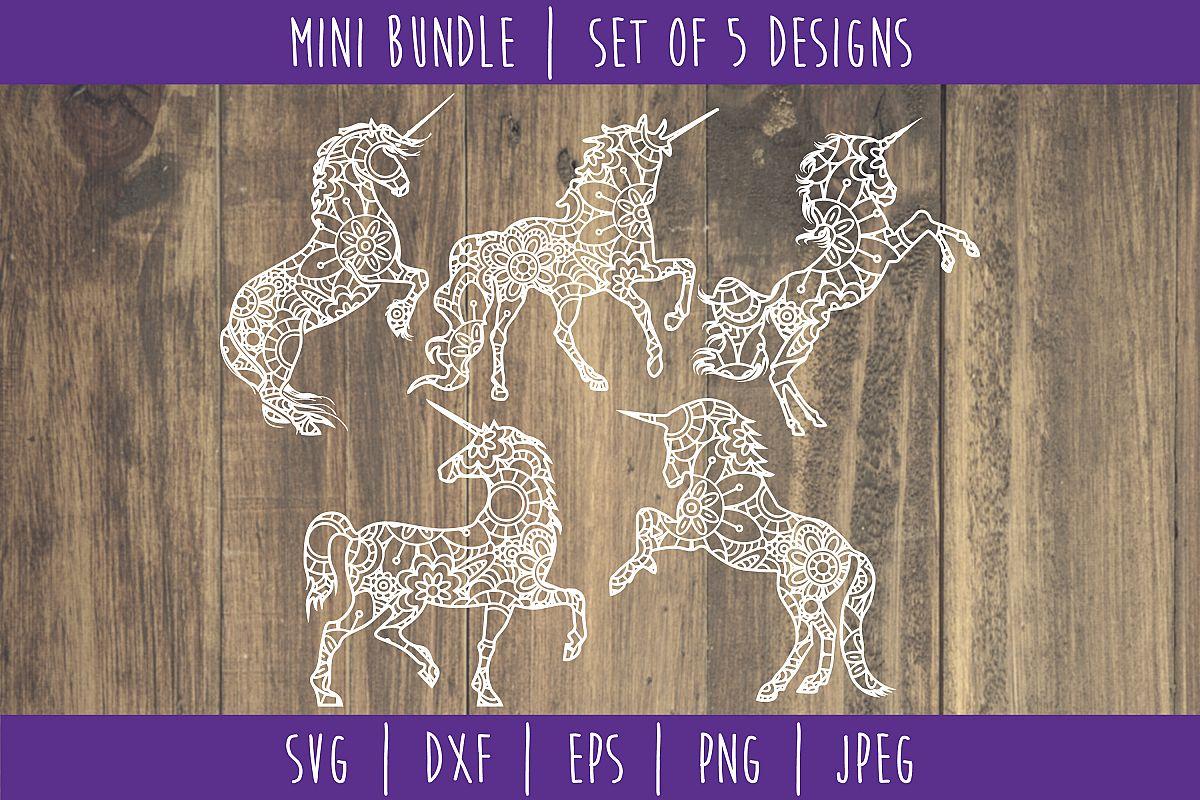 Unicorn Mandala Zentangle Bundle Set of 5 - SVG example image 1