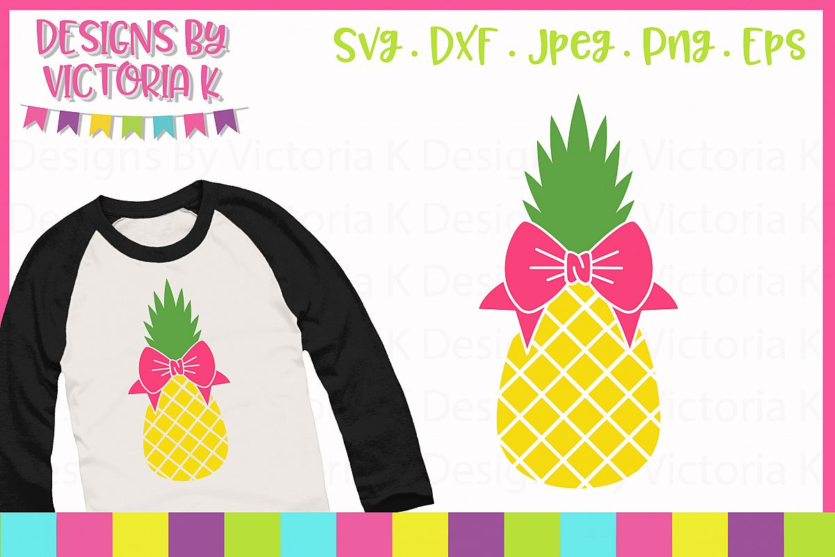 Pineapple with bow, Summer SVG Cut File example image 1