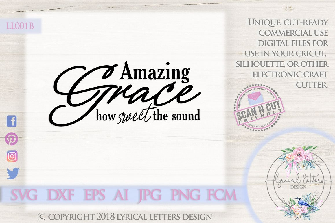 Amazing Grace Christian Hymn SVG DXF Cut File LL001B example image 1