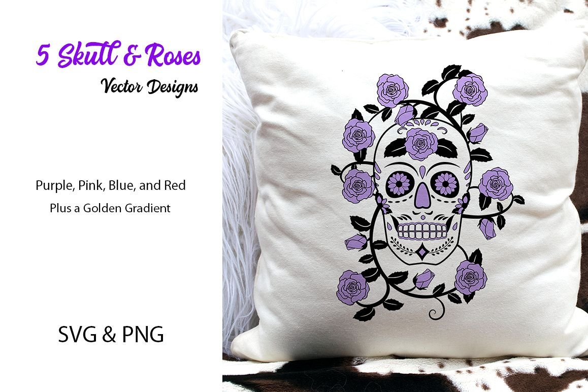 5 Skull & Roses Vector Designs- SVG & PNG example image 1