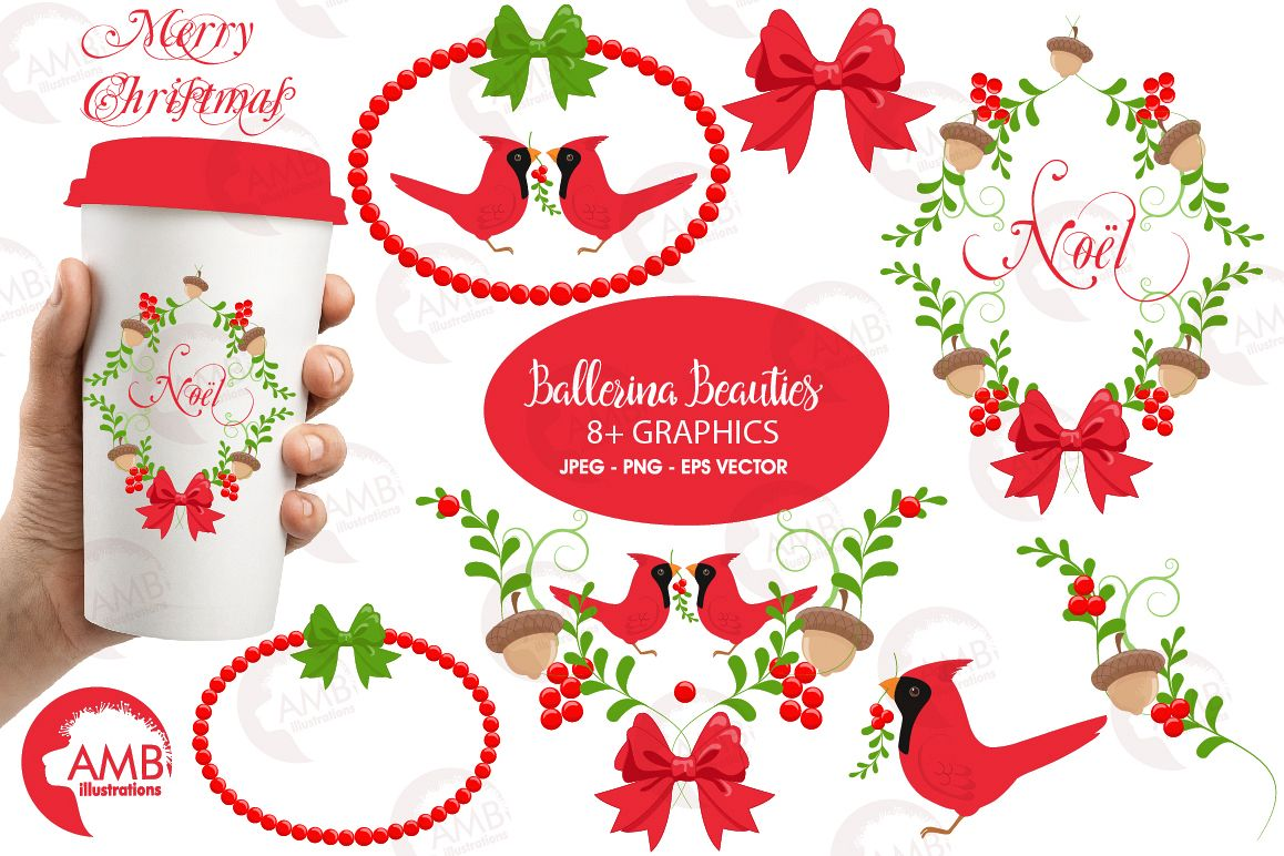 Christmas greetings embellishments, clipart, graphics, illustrations AMB-1464 example image 1