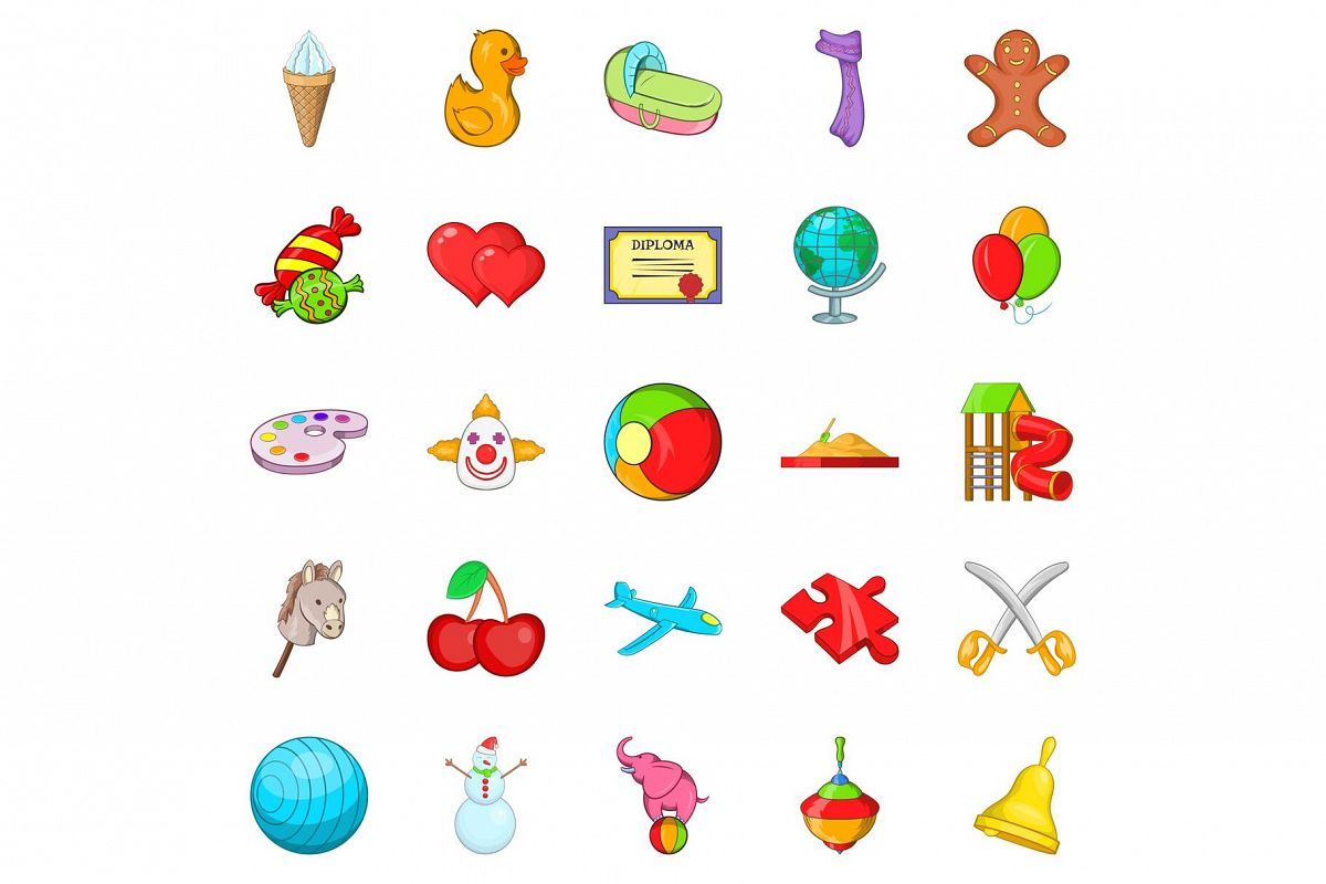 Little ones icons set, cartoon style example image 1