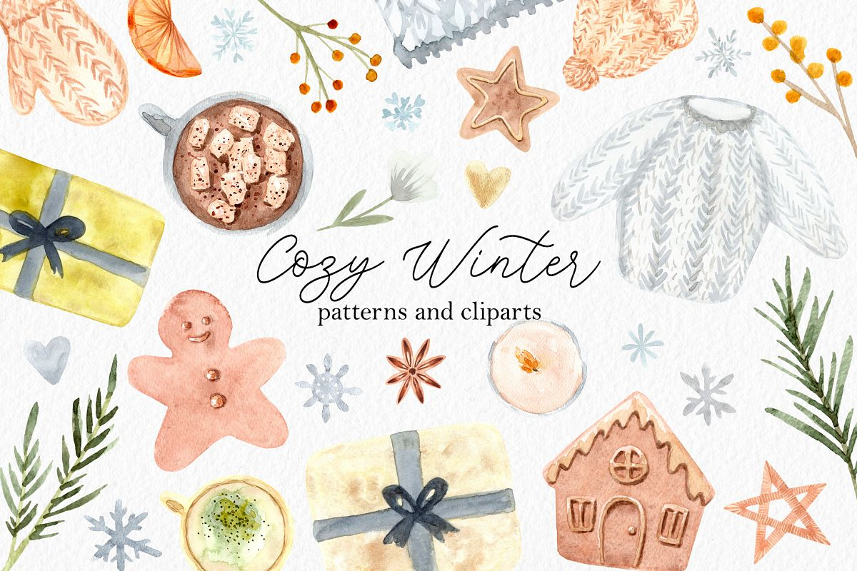 Watercolor Cozy Winter Collection example image 1