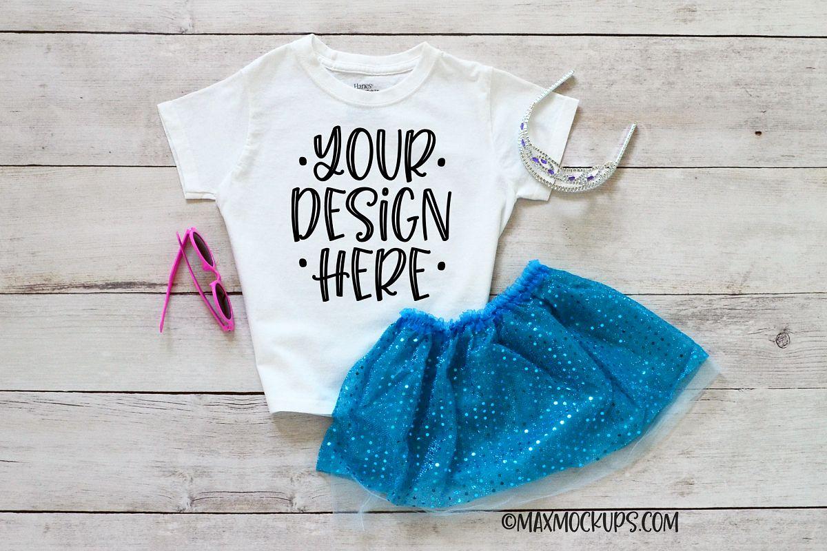 White kids shirt mockup, tutu, tiara and sunglasses example image 1