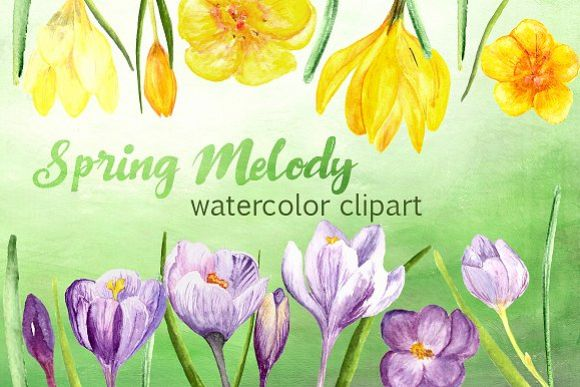 Spring Melody Watercolor Clipart Set example image 1