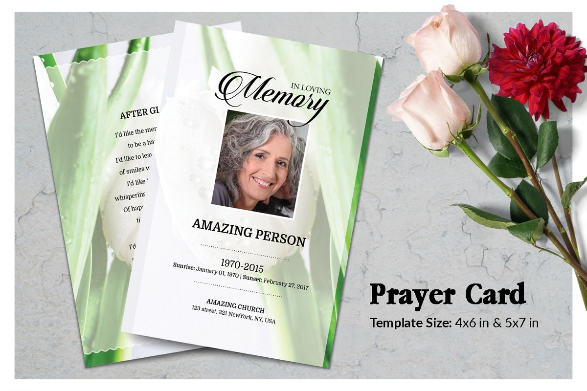 White tulip Funeral Prayer Card Template example image 1