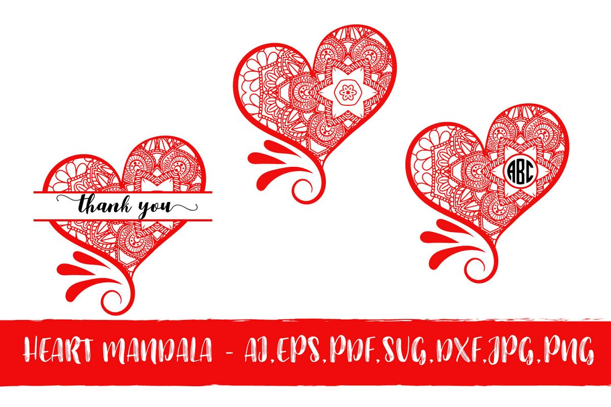 Heart Mandala Monogram Valentine's Day example image 1