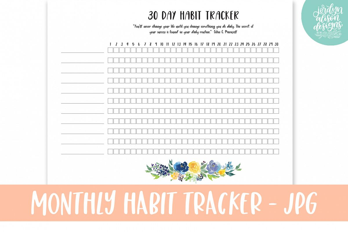 Monthly Habit Tracker, Printable or Digital Planner example image 1