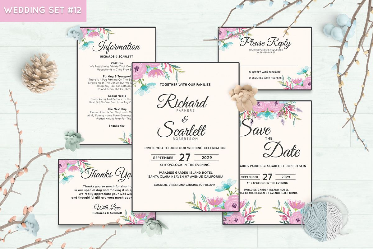 Wedding Invitation Set #12 Watercolor Floral Flower Style example image 1