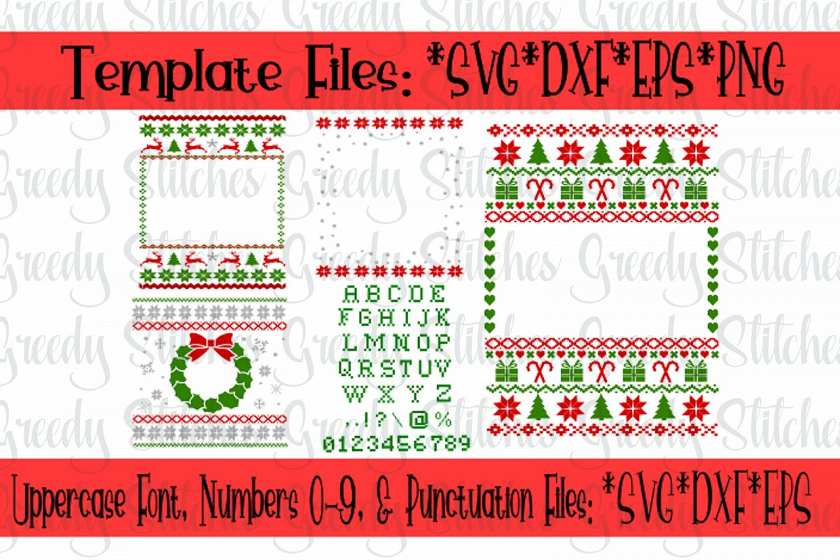 Ugly Christmas Sweaters Patterns.Ugly Christmas Sweater Template Bundle Svg Dxf Eps
