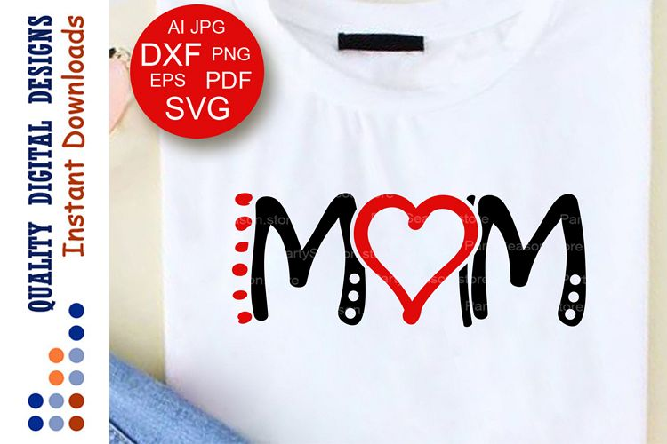 Love Mom Svg Red Heart clipart T shirts for women Birthday example image 1