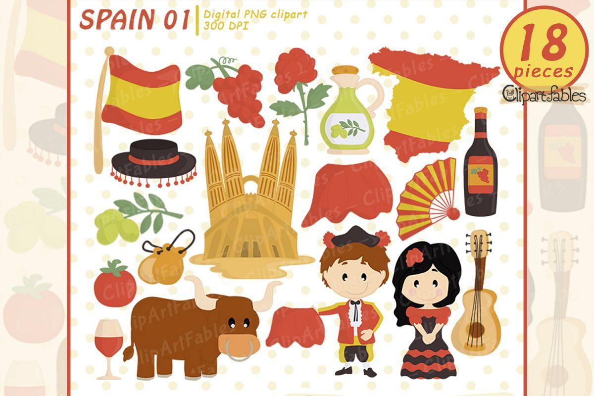 SPAIN clip art, European theme clipart - Instant Download example image 1