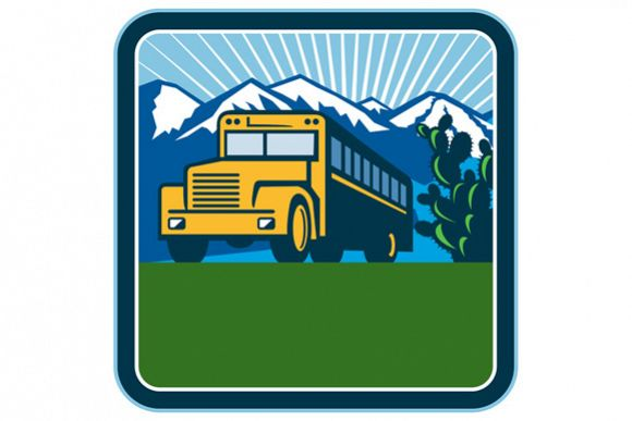 School Bus Cactus Mountains Square Retro example image 1