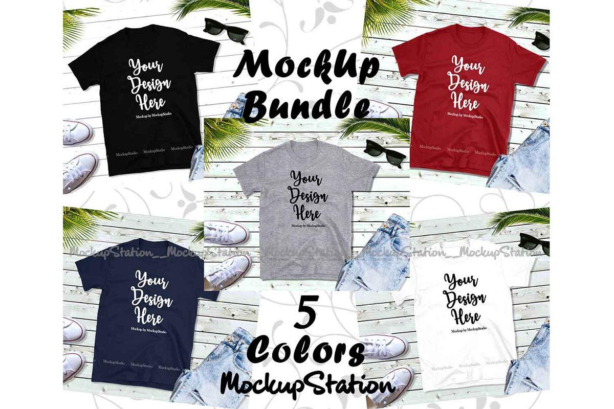 Tshirt Mockup Bundle 5 Colors Gildan 64000 Shirt Flat Lay