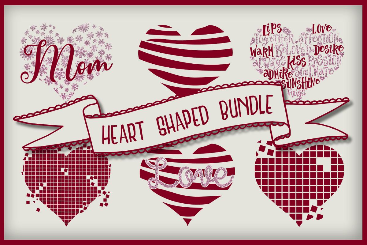 Heart Shaped Bundle | Cut files | Sublimation example image 1