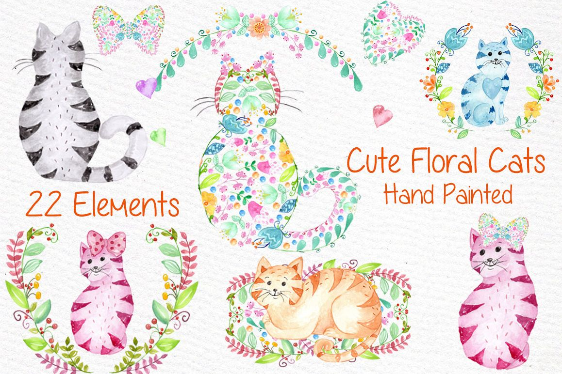 Cute watercolor cats clipart example image 1