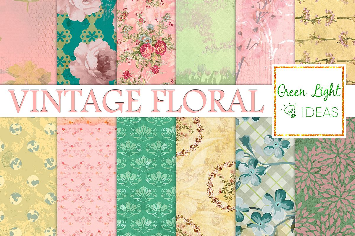 Vintage Floral Digital Papers Shabby Chic Scrapbook Papers