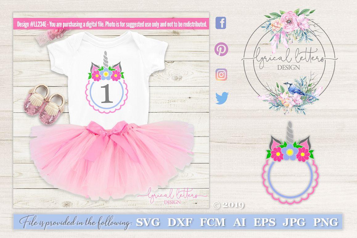 Unicorn Horn Birthday Frame SVG DXF LL234E example image 1