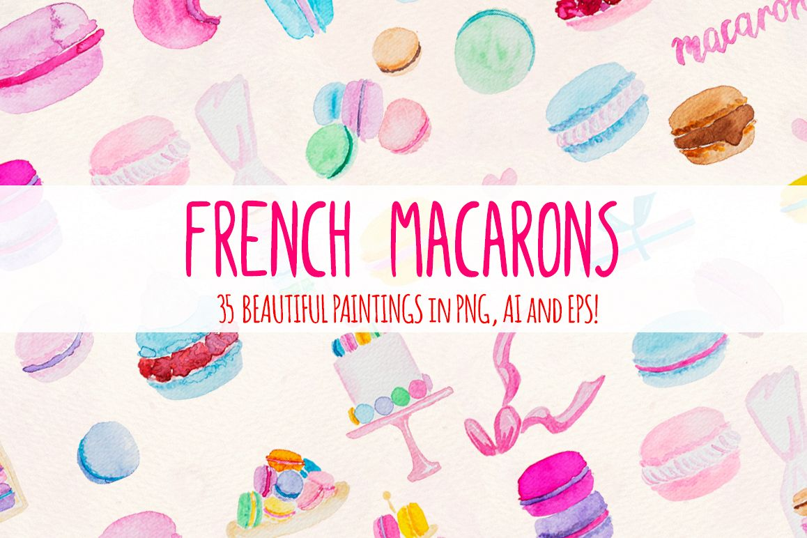 35 Pretty French Macarons Watercolor Graphic Elements example image 1
