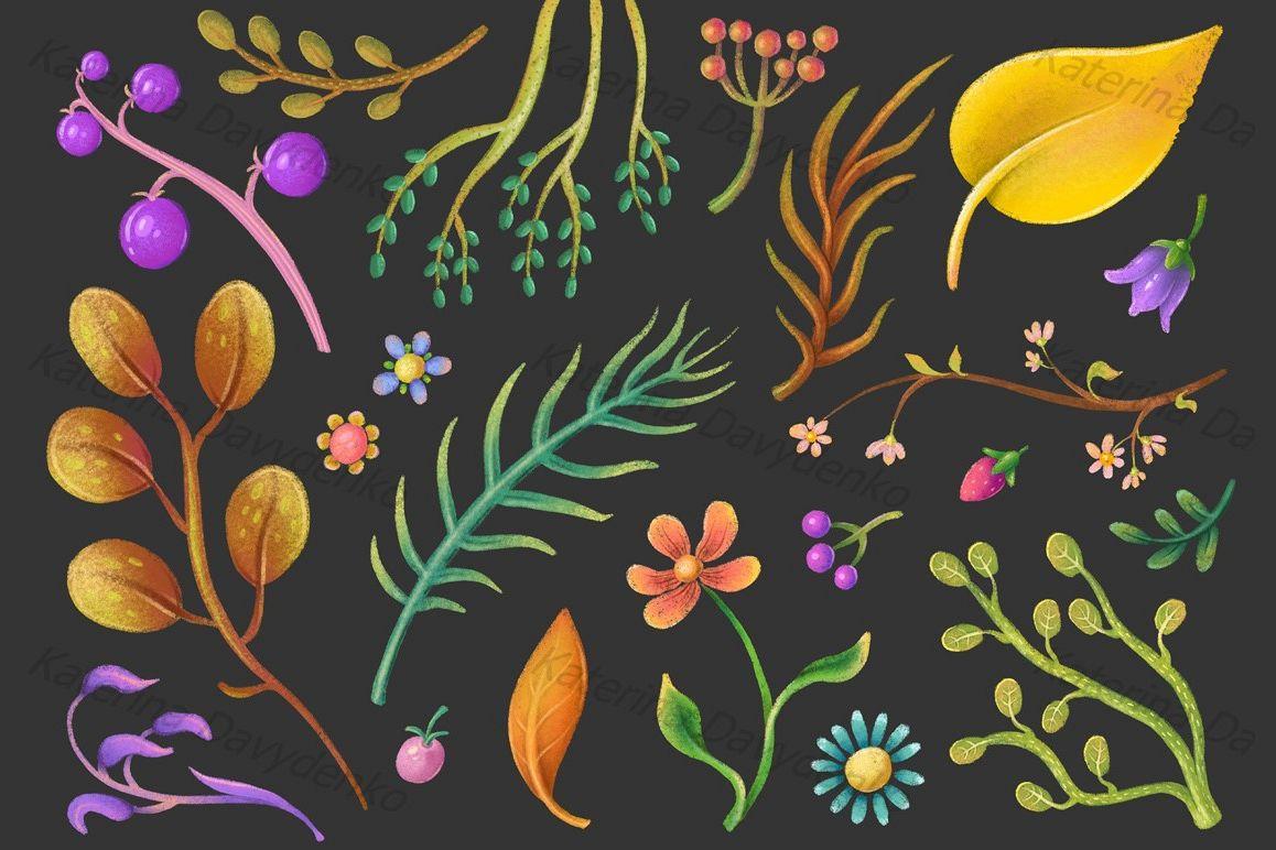 Set of pastel plant elements, flowers, leaves, flora clipart example image 1