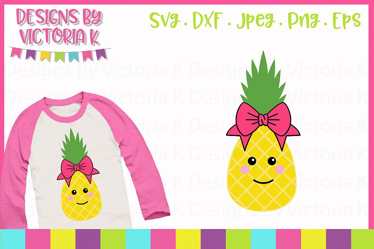 Pineapple girl with bow, Summer SVG Cut File example image 1
