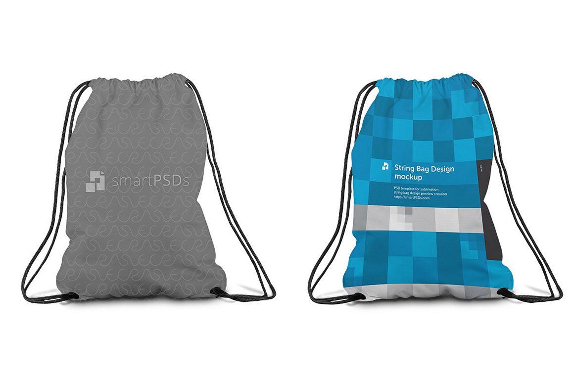 String Bag Sublimation Design Mockup - 4 Views example image 1