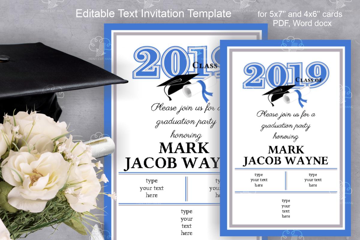 Invitation Template editable text - BLUE - Graduation 2019 example image 1