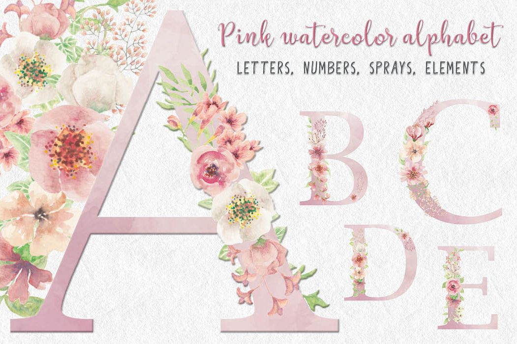 Pink watercolor alphabet, numbers and sprays + FREEBIE! example image 1