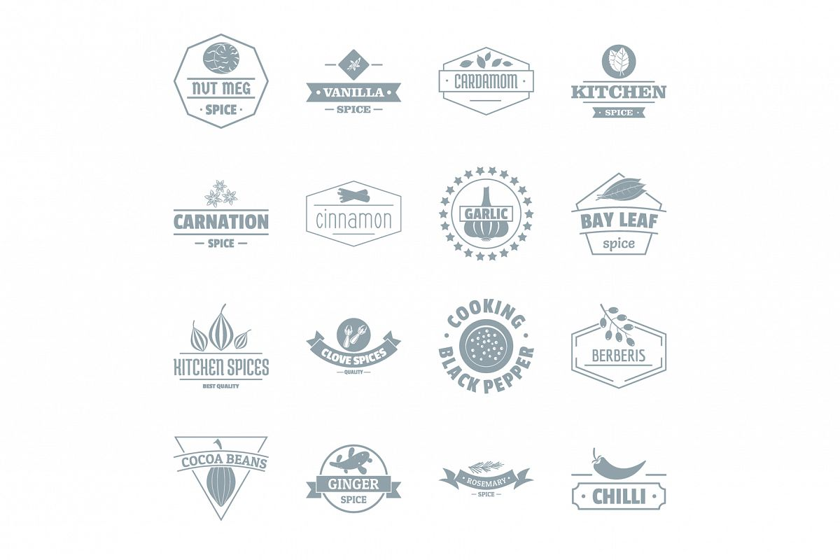 Spice logo icons set, simple style example image 1