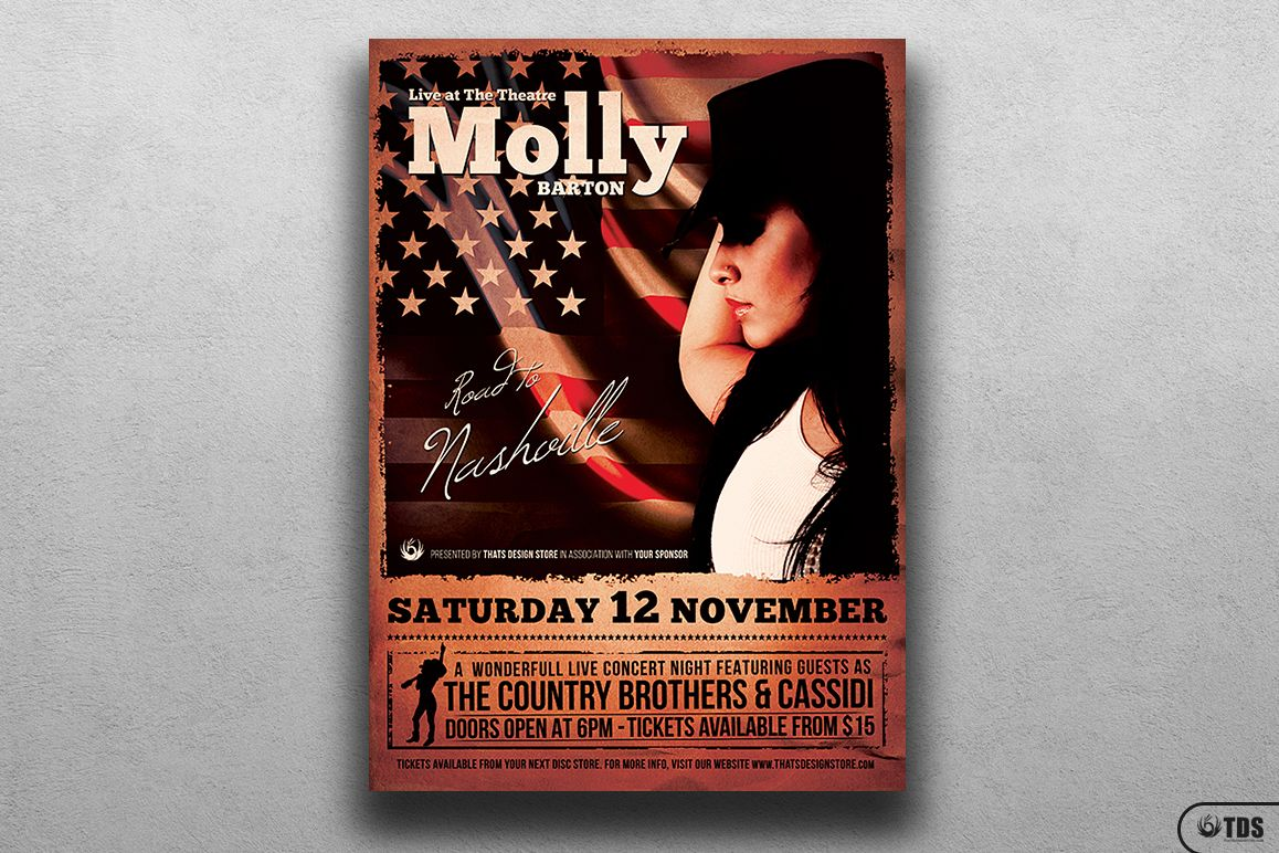 Country Live Flyer Template V2 example image 1