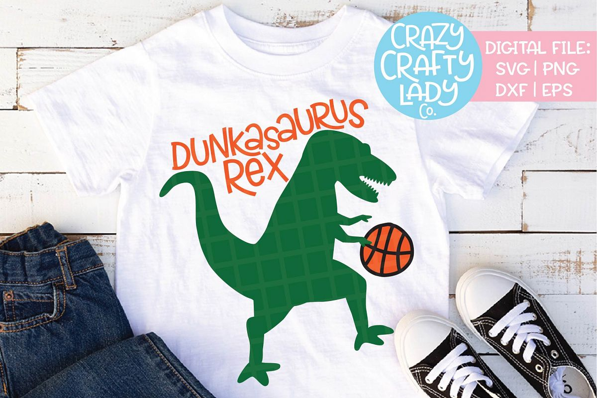 Basketball Dinosaur SVG DXF EPS PNG Cut File example image 1
