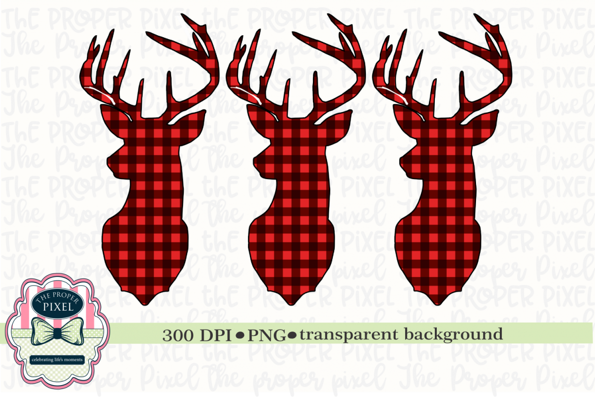 Deer Design Buffalo Plaid Christmas Sublimation Printable example image 1