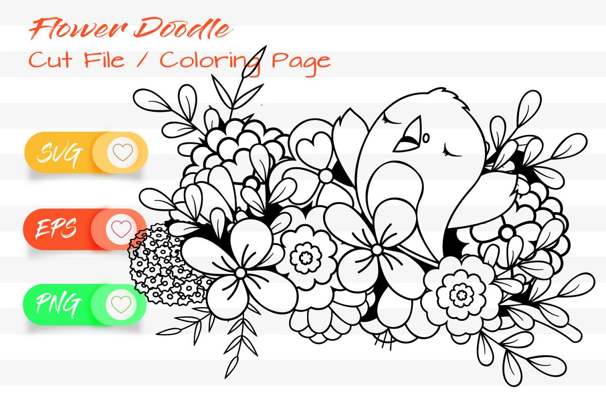 The cute Birdie - Cut File and Coloring Page example image 1