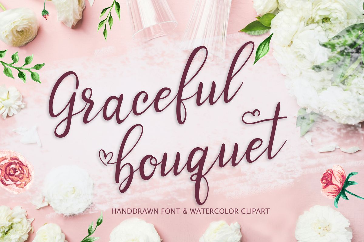 Graceful bouquet-lovely font&clipart example image 1