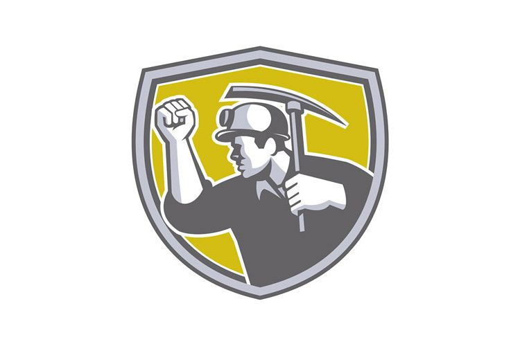 Coal Miner Clenched Fist Pick Axe Shield Retro example image 1